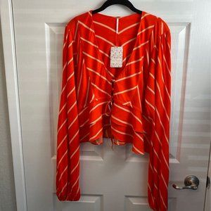 NWT Free People LS Tangerine Combo Top. Medium